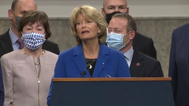 alaska senator lisa murkowski says at a press conference with house members of the problem solvers caucus and a bipartisan group of senators to... - thanksgiving politics stock videos & royalty-free footage