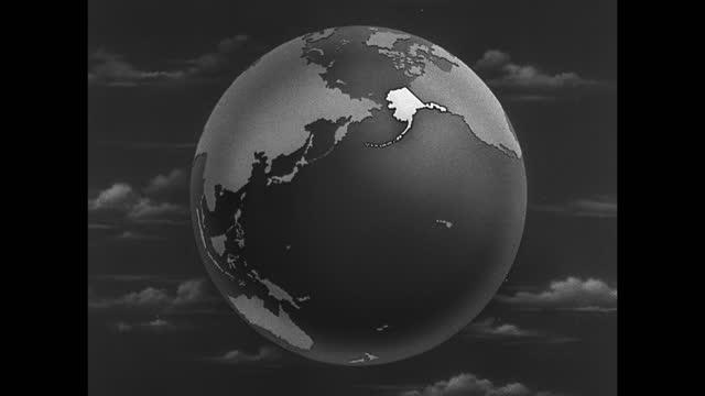 stockvideo's en b-roll-footage met map 'alaska' superimposed over globe alaska highlighted on globe map - alaska verenigde staten