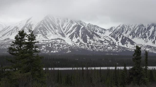 Alaska zoom and pan snowy mountains