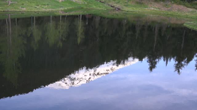 Alaska zoom to reflected mountain