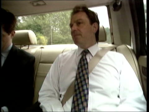 stockvideo's en b-roll-footage met alastair campbell resigns itn lib campbell in back of car with blair night coffin of princess diana along in back of hearse tony blair mp speech sot... - tony blair