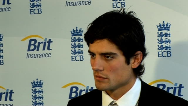 alastair cook interview on taking on england captaincy role alastair cook press conference sot experience of captaincy of under 19s helped a little... - stepping stone stock videos & royalty-free footage