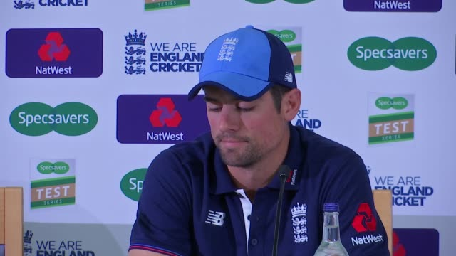 london lambeth kennington the oval int alastair cook press conference sot - lambeth stock videos & royalty-free footage