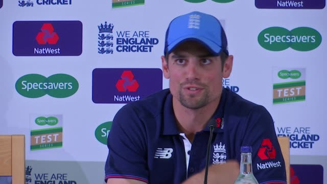 london lambeth kennington the oval int alastair cook press conference sot press cook leaving - lambeth stock videos & royalty-free footage