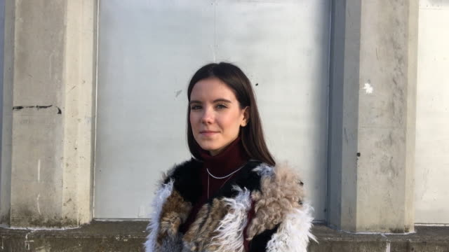 Alba Muñoz wears Easy skirt Zara jacket and Almendra shoes during the Mercedes Benz Fashion Week Autumn/Winter 20192020 at Ifema on January 26 2019...