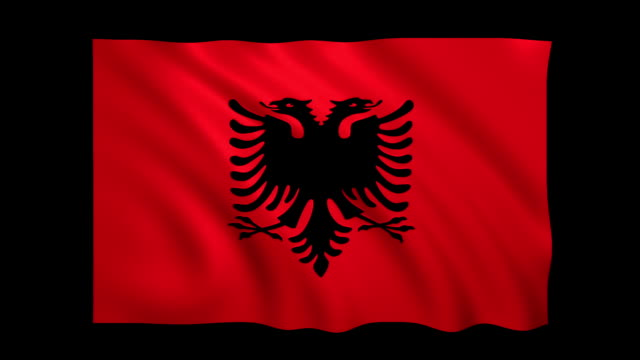 Albanien Flagge Endlos wiederholbar Alpha enthalten - Stock video