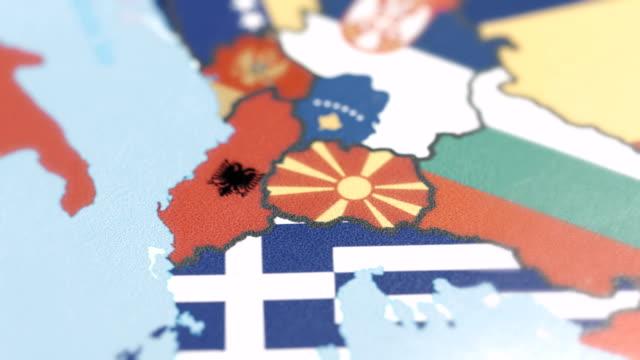 Albania, Macedonia with National Flag on World Map