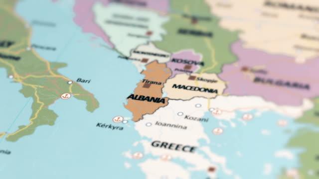 europe albania on world map - albania stock videos & royalty-free footage