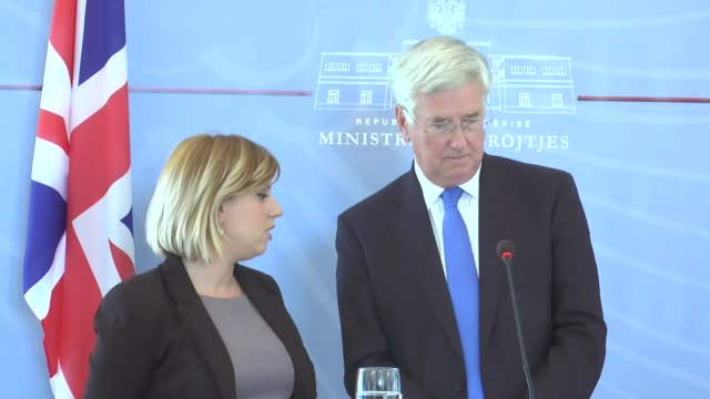 Albanian Defense Minister Mimi Kodheli and British Defense Minister Michael Fallon hold press conference at the Defense Ministry in Tirana Albania on...
