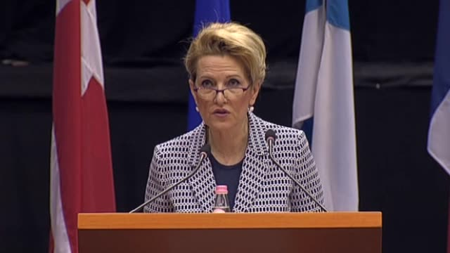 albanian defense minister mimi kodheli delivers a speech during the defense and security commission panel as part of the nato parliamentary assembly... - tirana stock videos and b-roll footage