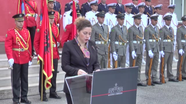 albanian defense minister olta xhacka speaks during a ceremony of 66 albanian soldiers who will depart to serve for six months under the turkish... - tirana stock videos and b-roll footage