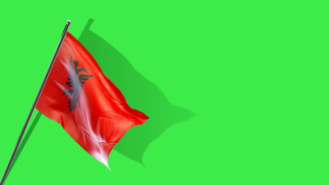 albanian flag rising