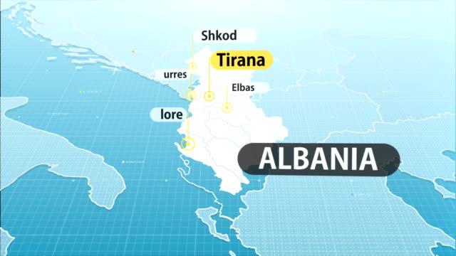 アルバニア地図 - 東ヨーロッパ民族点の映像素材/bロール