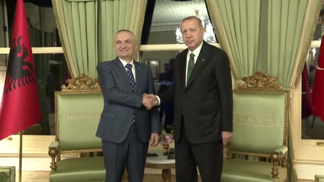 albanian president ilir meta meets with turkish president recep tayyip erdogan at vahdettin pavilion on may 03 2019 in istanbul turkey the meeting... - pavilion stock videos & royalty-free footage