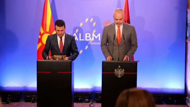 Albanian Prime Minister Edi Rama and Macedonian Prime Minister Zoran Zaev speak during a joint press conference after their meeting in Pogradec...