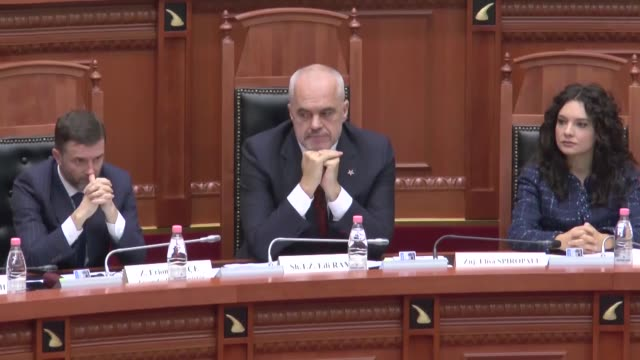 albanian prime minister edi rama attends a parliamentary session in tirana albania on january 21 2019 albanian pm assumed the duties of the minister... - tirana stock videos & royalty-free footage