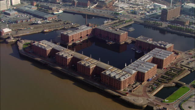 aerial, albert dock, liverpool, england - merseyside stock videos & royalty-free footage