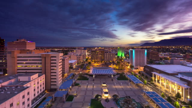 albuquerque cityscape sunrise - time lapse - new mexico stock videos & royalty-free footage
