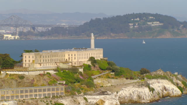 WS DS AERIAL Alcatraz Island and prison complex showing city / San Francisco, California, United States