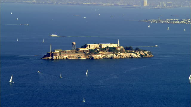 aerial, alcatraz island, san francisco, california, usa - alcatraz island stock videos & royalty-free footage