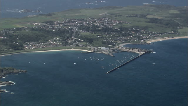 Alderney harbour - Aerial View - helicopter filming,  aerial video,  cineflex,  establishing shot,  Guernsey