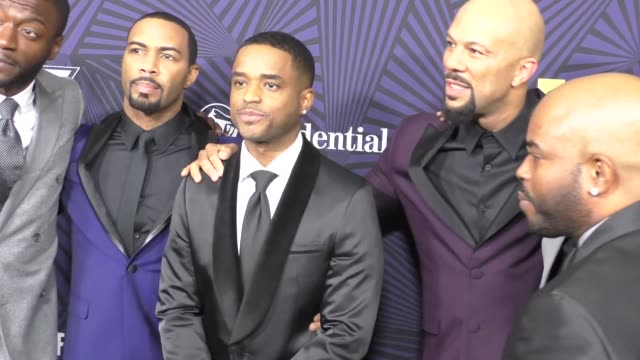 aldis hodge omari hardwick larenz tate and common at the bet 2017 american black film festival honors awards at the beverly hilton hotel on february... - larenz tate stock videos and b-roll footage