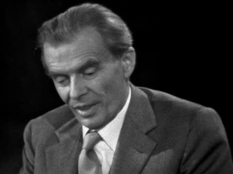 aldous huxley talks about how some of his ideas from his book brave new world have already come true - bbc archive stock-videos und b-roll-filmmaterial