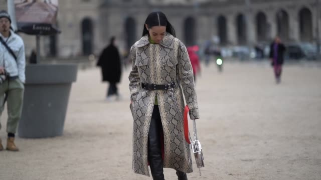 aleali may wears a snake print trench coat, a green turtleneck, outside kenzo, during paris fashion week - menswear f/w 2019-2020, on january 20,... - トレンチコート点の映像素材/bロール