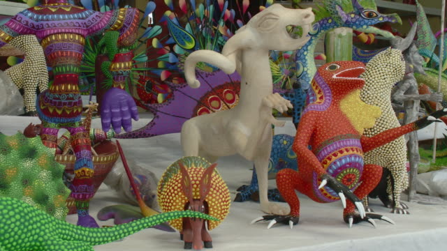 MS PAN Alebrijes - brightly-colored Mexican folk art sculptures of fantastical creatures / Oaxaca, Mexico
