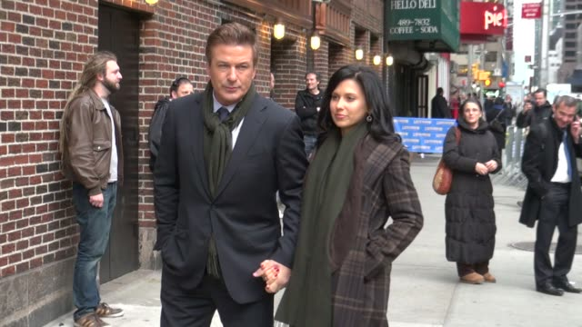 alec baldwin and hilaria thomas at the 'late show with david letterman' studio in new york on 2/21/2012 - alec baldwin stock videos and b-roll footage