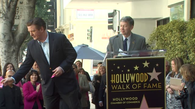 alec baldwin at the alec baldwin honored with a star on the hollywood walk of fame at hollywood ca - alec baldwin stock videos & royalty-free footage