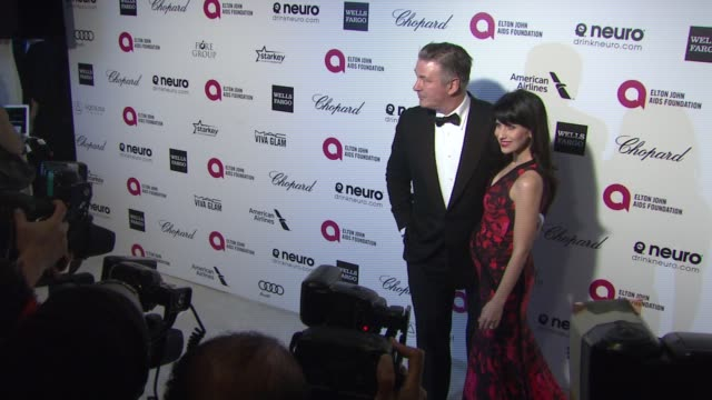 alec baldwin hilaria baldwin at 23rd annual elton john aids foundation academy awards viewing party sponsored by chopard neuro drinks and wells fargo... - alec baldwin stock videos and b-roll footage