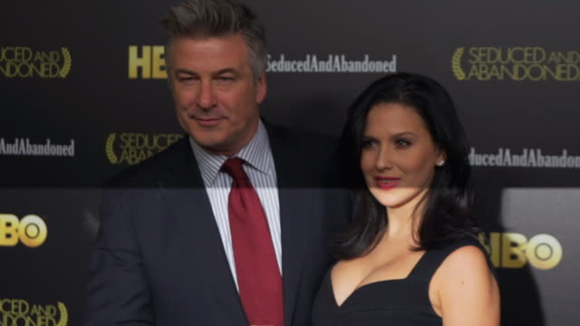 alec baldwin hilaria baldwin posing for paparazzi opn the red carpet at the time warner center - alec baldwin stock videos & royalty-free footage