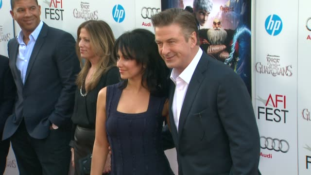 alec baldwin hilaria thomas at afi fest 2012 rise of the guardians gala screening on 11/4/2012 in hollywood ca - alec baldwin stock videos & royalty-free footage