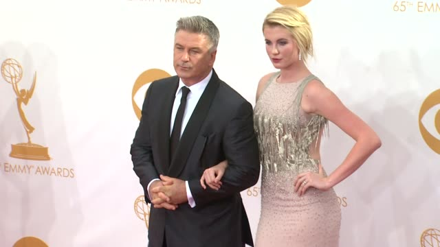 alec baldwin ireland baldwin at 65th annual primetime emmy awards arrivals on 9/22/2013 in los angeles ca - annual primetime emmy awards stock-videos und b-roll-filmmaterial