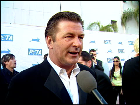 alec baldwin on how he got involved with peta at the peta's 25th anniversary gala and humanitarian awards show at paramount studios in hollywood... - paramount studios stock videos and b-roll footage