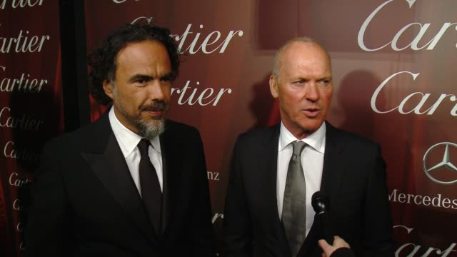 interview – alejandro g iñárritu michael keaton on the director of the year award what it was like working together why the story resonated with them... - cartier video stock e b–roll