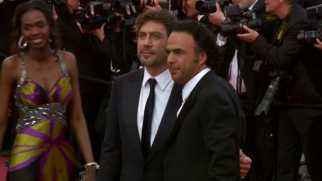 alejandro gonzalez inarritu and javier bardem at the biutiful red carpet cannes film festival 2010 at cannes - javier bardem stock videos and b-roll footage
