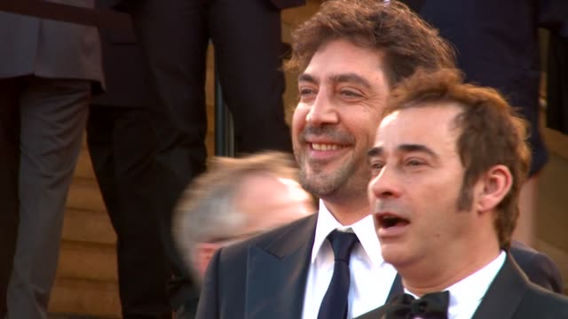 alejandro gonzalez inarritu javier bardem and eduard fernadez at the biutiful red carpet cannes film festival 2010 at cannes - javier bardem stock videos and b-roll footage