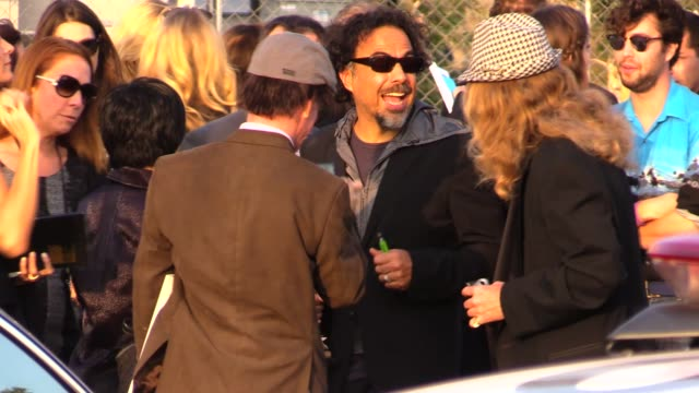 Alejandro Gonzalez Inarritu with award departs the 2015 Spirit Awards in Santa Monica in Celebrity Sightings in Los Angeles