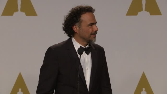 SPEECH Alejandro González Iñárritu Nicolas Giacobone Alexander Dinelaris Jr and Armando Bo at the 87th Annual Academy Awards Press Room Part 1 at...