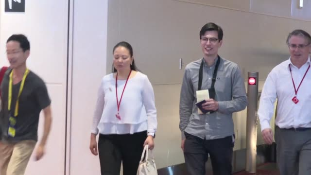 alek sigley a 29 year old australian student detained in north korea arrives in tokyo hours after surfacing in beijing where he said he felt great... - surfacing stock videos & royalty-free footage
