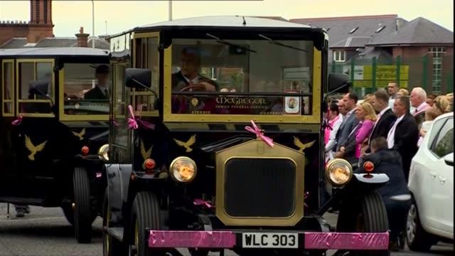 GVs of pink themed funeral in Coatbridge SCOTLAND North Lanarkshire Coatbridge EXT Funeral of 6yearold Alesha MacPhail as funeral cortege away