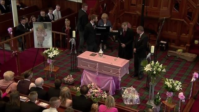 GVs of pink themed funeral in Coatbridge SCOTLAND North Lanarkshire Coatbridge INT Various of the funeral service of 6yearold Alesha MacPhail /...