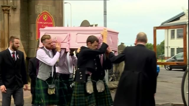 Hundreds attend funeral in Coatbridge UK Scotland North Lanarkshire Coatbridge Pallbearers carrying coffin funeral service Alesha's uncle and teacher...