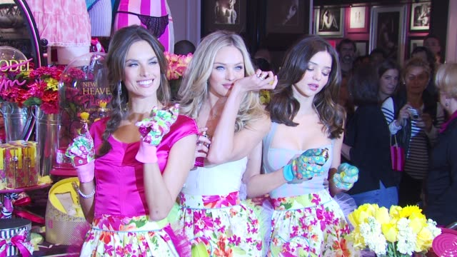 alessandra ambrosio candice swanepoel and miranda kerr at the victoria's secret beauty heavenly flowers launch at new york ny - miranda kerr stock videos and b-roll footage