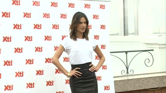 vídeos de stock, filmes e b-roll de alessandra ambrosio presents 'xti' new collection - alessandra ambrosio