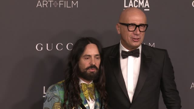 alessandro michele and marco bizzarri at 2016 lacma art film gala honoring robert irwin and kathryn bigelow presented by gucci at lacma on october 29... - marco marco designer label stock videos and b-roll footage