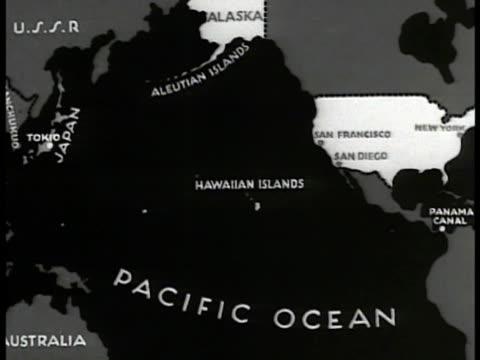 MAP Aleutian Islands Hawaiian Islands Pacific Ocean USA Panama Canal animated lines highlighting entire area
