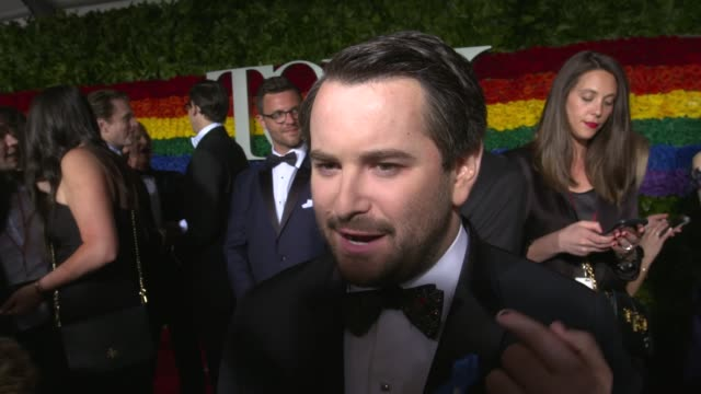 interview alex brightman at on what he's looking forward to tonight on his favorite tony memory at 73rd annual tony awards arrivals at radio city... - annual tony awards stock videos & royalty-free footage